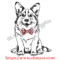 Corgi Sketch with Bow tie Embroidery Design