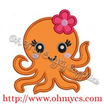 Cute Octopus Applique Design