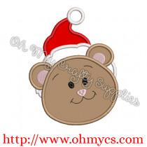 Cute Teddy Bear Santa Embroidery Applique