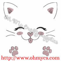 Cute Kitty Face and Paws Embroidery Design