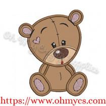 Cutie Bear Applique Design