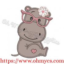 Cutie Hippo Applique