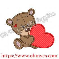 Cutie Teddy with Heart Applique Design