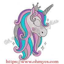 Cutie Solid Stitch Unicorn Embroidery Design