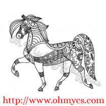 Dancing Henna Horse Embroidery Design