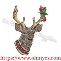 Christmas Reindeer Solid Stitch Embroidery Design