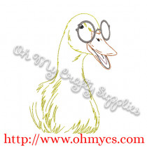 Duck Sketch with Glasses Embroidery Design