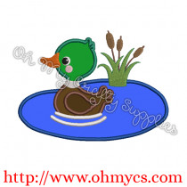 Duck In Pond Applique Design
