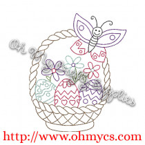 Henna Easter Basket with Butterfly Embroidery Design
