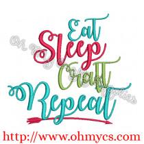 Eat Sleep Craft Repeat Embroidery Design
