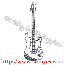 Electric Guitar Sketch Embroidery Design