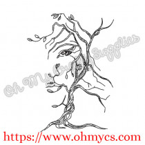 Face Tree Embroidery Design