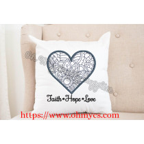 Faith Hope Love Heart Henna Embroidery Design
