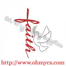Faith Cross Dove Embroidery Design