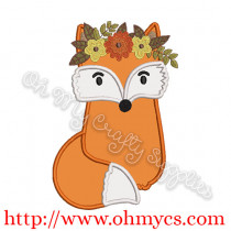 Fall Crown Fox Applique Design