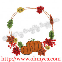 Fall Pumpkin Frame Embroidery Design