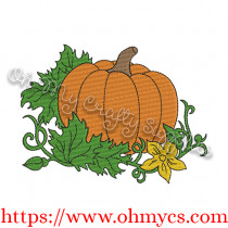 Fall Pumpkin with Vines Embroidery Design