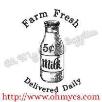 Sketch Farm Fresh Milk Embroidery Design
