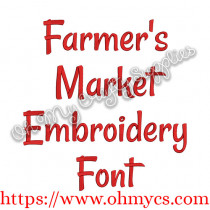 Farmer's Market Embroidery Font (BX Included)