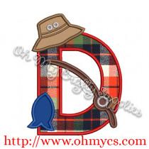 Fishing D Applique Letter Design