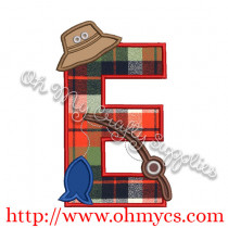 Fishing E Applique Letter Design