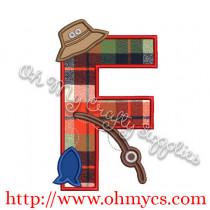 Fishing F Applique Letter Design