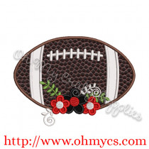 Floral Football Applique Design