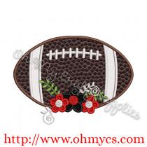 Floral Football Applique Design