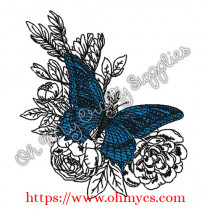 Floral Leafy Butterfly Embroidery Design