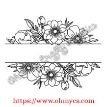 Floral Split Embroidery Design