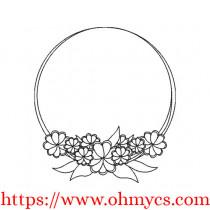 Floral Hoop Frame Embroidery Design