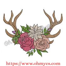 Flower Crown Antler Embroidery Design