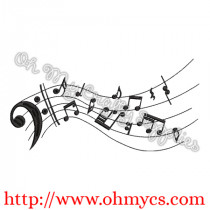 Flowing Music Notes Embroidery Design