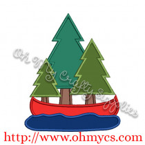 Forest Canoe Applique Design / Camp / Camping