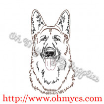 Sketch of German Shepherd Embroidery Design