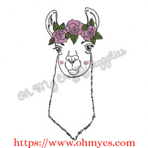 Girly Llama with Flower Crown Embroidery Design