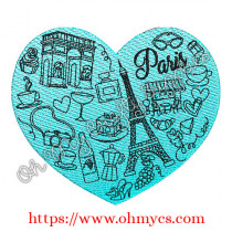 Glam Paris Heart Embroidery Design