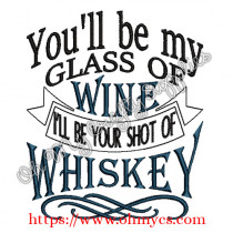 Glass of Wine Shot of Whiskey Embroidery Design