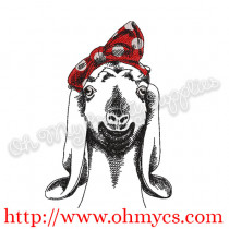 Sketch Goat with Headband Embroidery Design