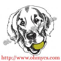 Golden Retriever Sketch with Ball Embroidery Design