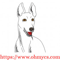 Greyhound Sketch Embroidery Design