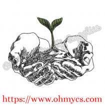 Sketch Hand Plant Embroidery Design