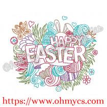 Happy Easter Splash Embroidery Design