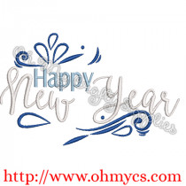 Happy New Year 2019 Embroidery Design
