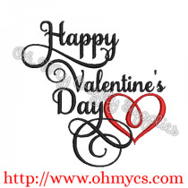 Happy Valentine's Day with a Heart Embroidery Design