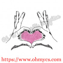 Heart Hands Embroidery Design