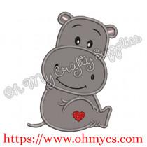 Heart Valentine Hippo Applique Design