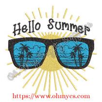 Hello Summer Sunshine Embroidery Design