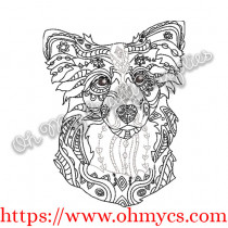 Henna Border Collie Embroidery Design