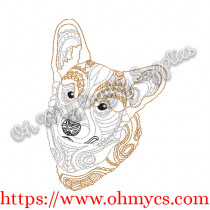 Henna Corgi Embroidery Design